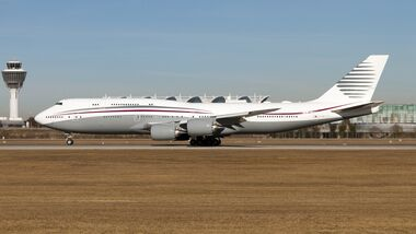 A Qatar Amiri Flight Boeing 747-800 business jet seen
