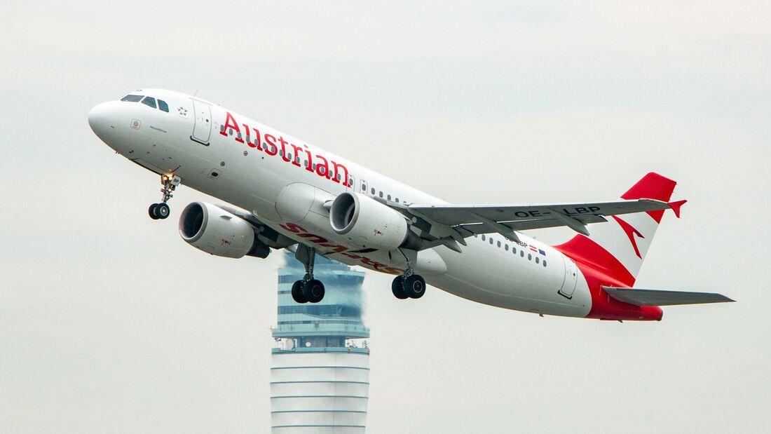 A320 der Austrian beim Start in Wien.