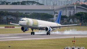 Airbus A321P2F beim Erstflug in Singapur am 22. Januar 2020.