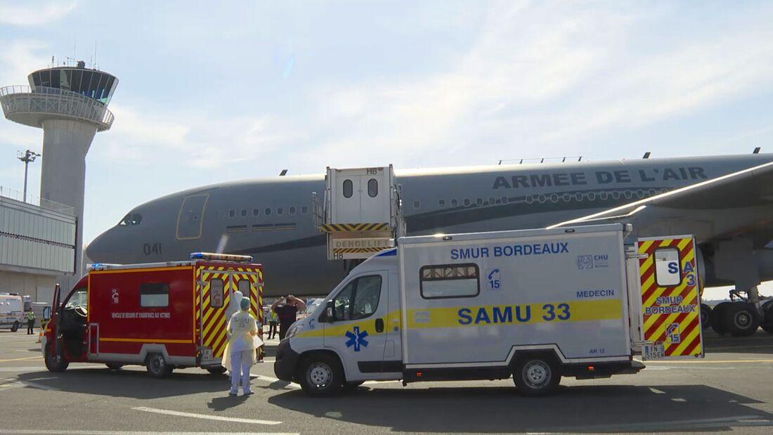 Airbus A330 MRTT der Armée de l´Air bei der Verlegung von Covid-9-Patienten am 21 März 2020 in Bordeaux.