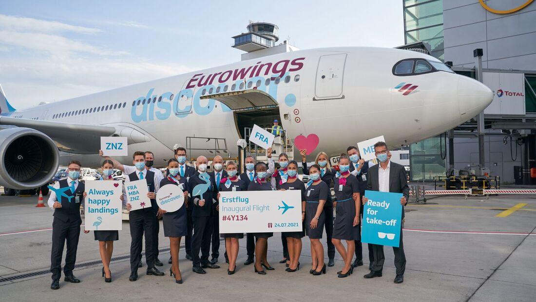 Am 24. Juli 2021 führte Eurowings Discover ihren ersten Flug durch. Er ging von Frankfurt nach Mombasa und Sansibar.