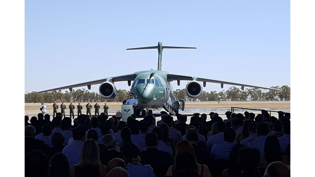 Auslieferung der ersten Embraer KC-390 an die brasilianischen Luftstreitkräfte am 4. September 2019.