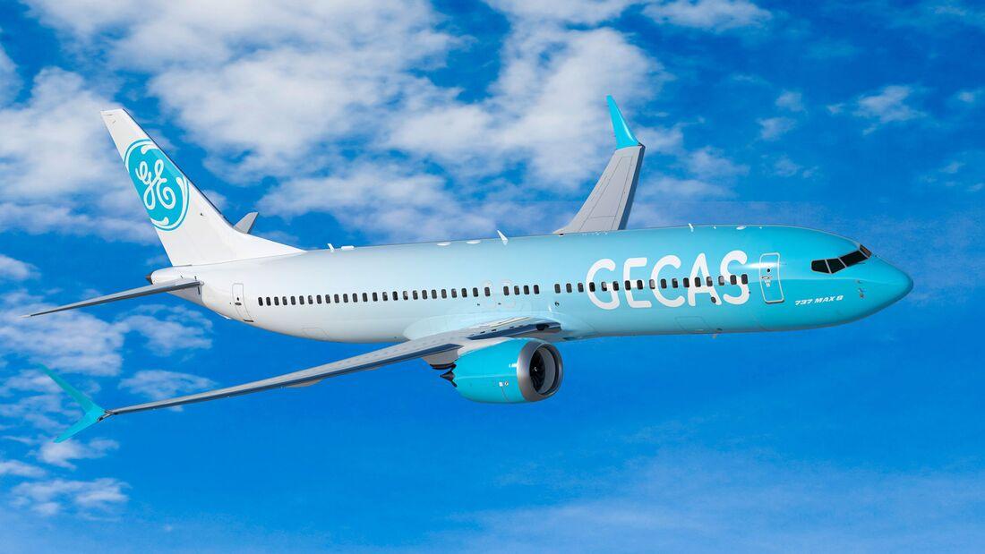 Boeing 737-8 in den virtuellen Farben des Leasingunternehmens GECAS.