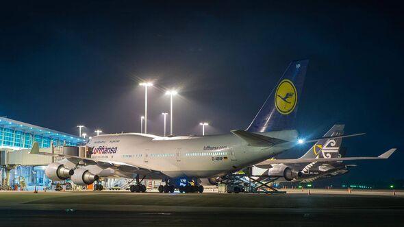 Boeing 747-400 der Lufthansa am 6. April 2020 in Christchurch.