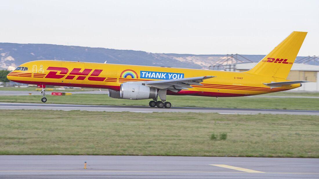 Boeing 757 Frachter von DHL in Leipzig.