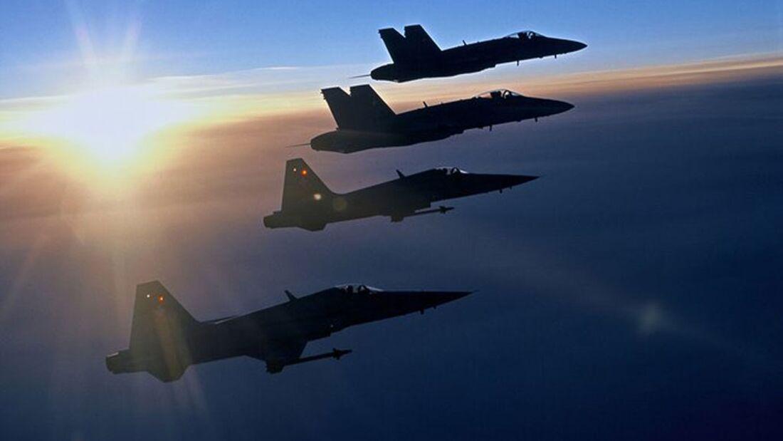 Boeing F-18 Hornet und Northrop F-5E Tiger der Schweizer Luftwaffe.