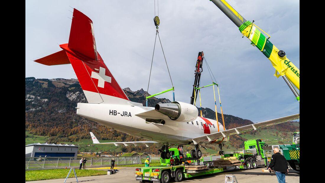 Challenger 604 der Rega auf dem Weg ins Verkehrshaus der Schweiz in Luzern