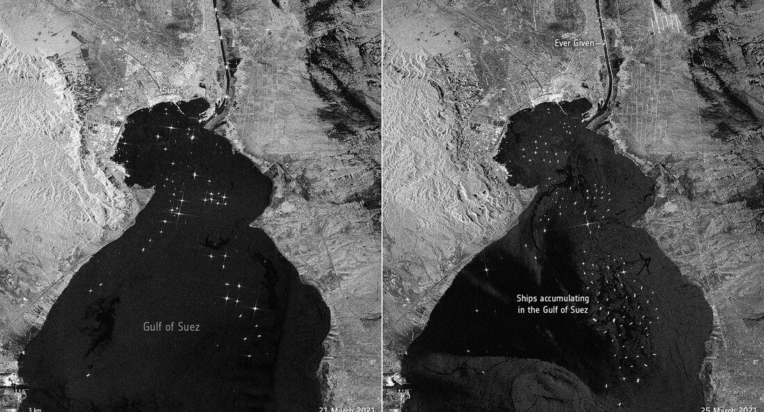 Der Radarsatellit Sentinel-1 zeigt den Stau am Suezkanal, verursacht durch ein auf Grund gelaufenes Containerschiff.