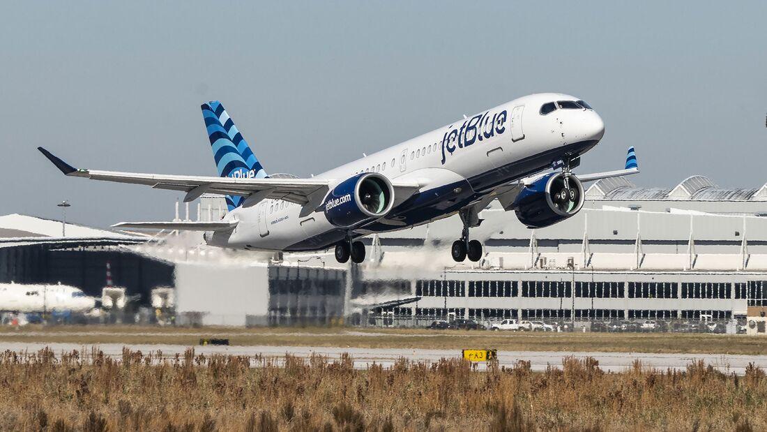 Der erste A220-371 für JetBlue flog am 9. Dezember 2020 in Mobile zum ersten Mal.