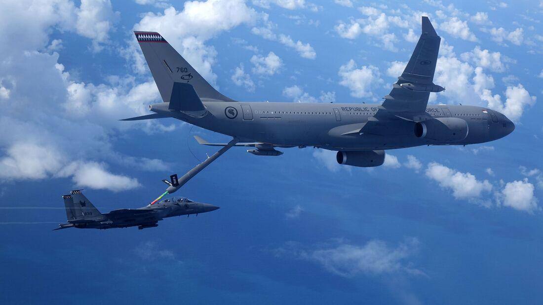 Die A330 MRTT betanken unter anderem die Boeing F-15SG Eagle der Luftstreitkräfte Singapurs.