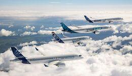 Die Airbus-Flugzeugfamilie im Formationsflug.
