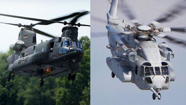 Die Boeing CH-47 Chinook und die Sikorsky CH-53K King Stallion sind im Wettbewerb um einen Schwerlasthubschrauber-Auftrag für die Luftwaffe.