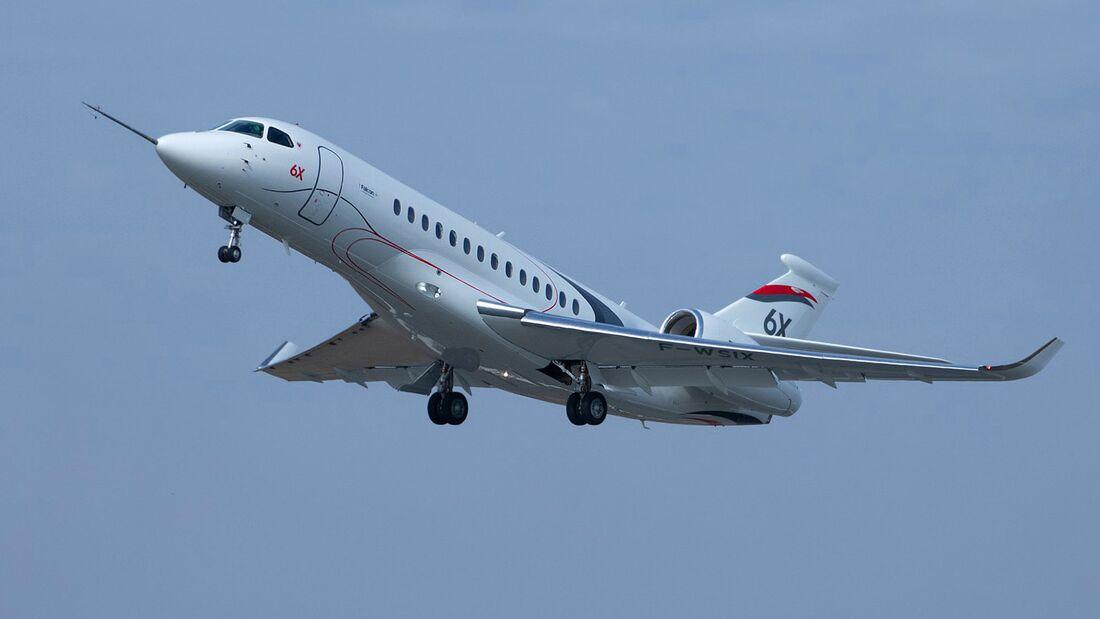 Die Dassault Falcon 6X startete am 10. März 2021 in Bordeaux-Merignac zum Erstflug.