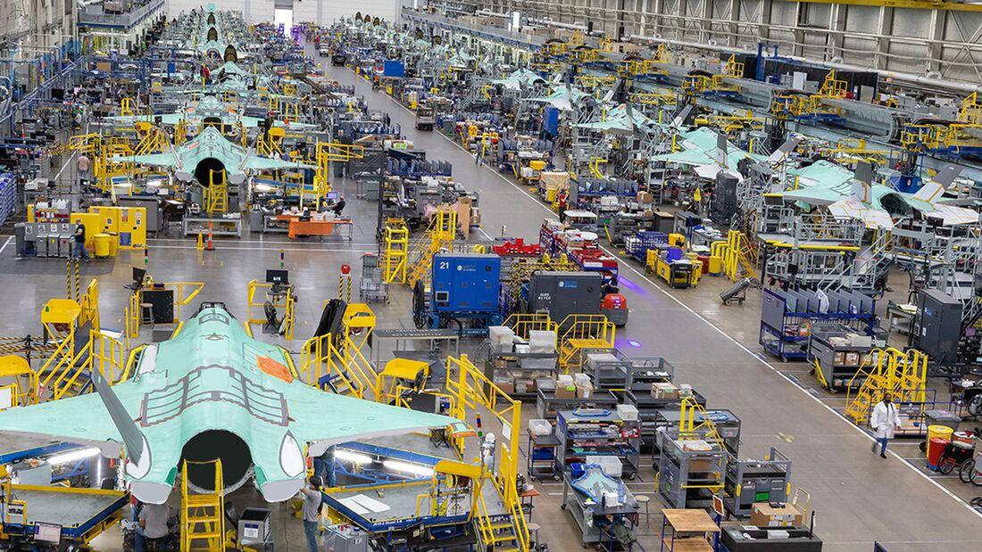 Die F-35-Produktionslinien bei Lockheed Martin in Fort Worth, Texas.