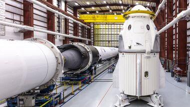 Die Kapsel Crew Dragon des privaten US-Raumfahrtunternehmens SpaceX.