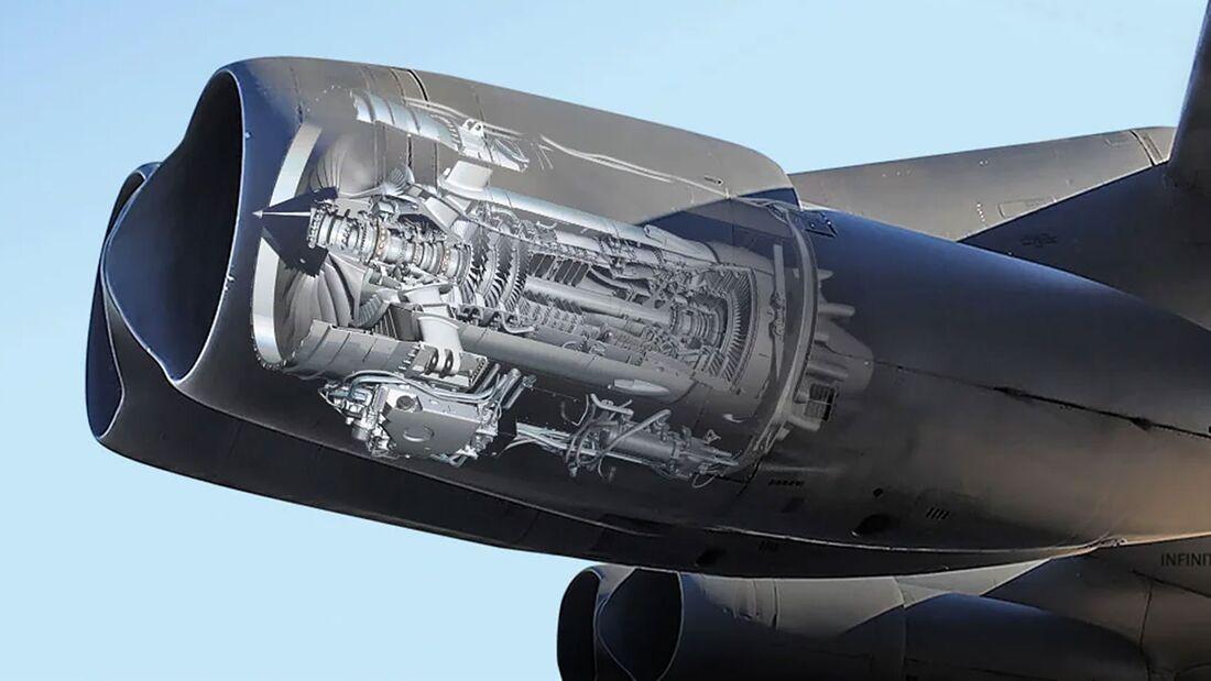 Die acht Triebwerke der B-52H Stratofortress werden durch Rolls-Royce F130 (Militärversion des BR710) ersetzt.