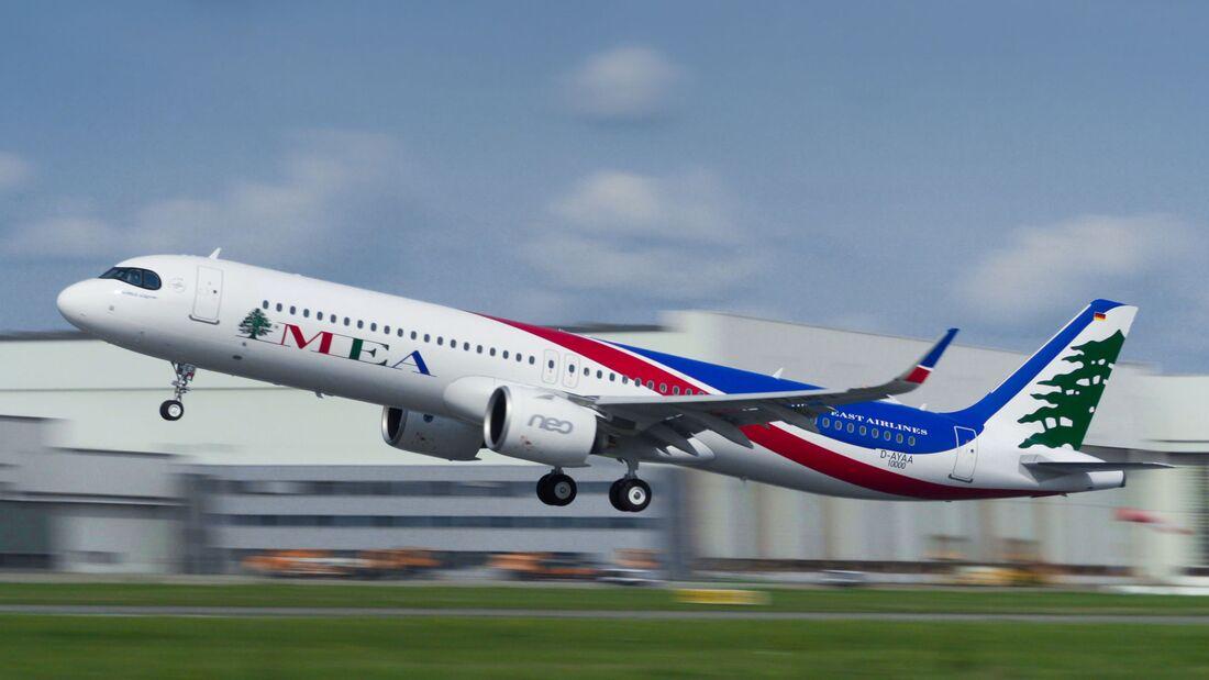 Diese A321neo für MEA ist die MSN 10000 der A320-Familie von Airbus.