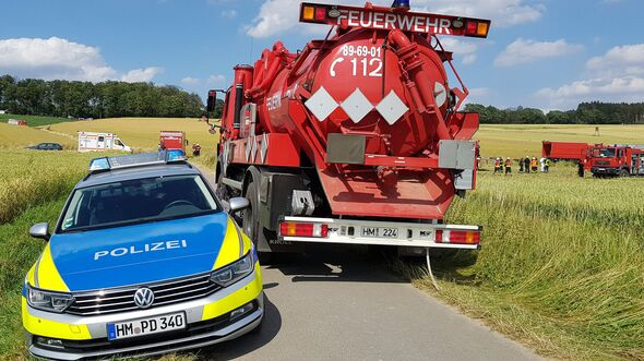EC135-Absturz - Feuerwehr vor Ort