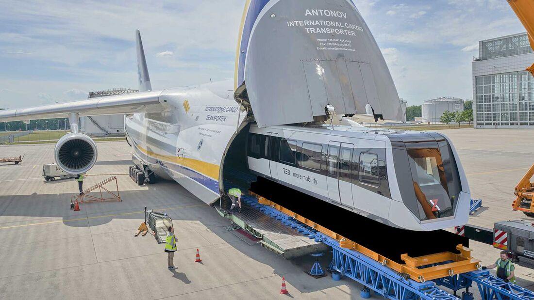 Eine Antonow An-124 brachte zwei Fahrzeuge des Max Bögl TSB (Transport System Bögl) von München nach Chengdu.