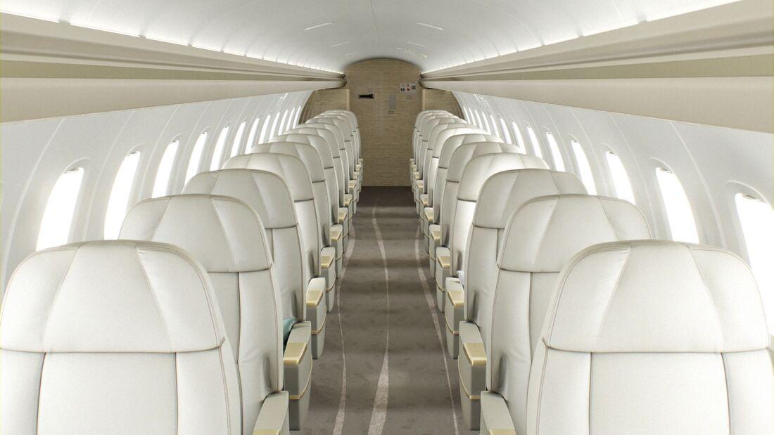 Embraer bietet an, alte ERJ 145 Regionaljets in Semi-Private-Jets mit nur noch 16 bis 28 Sitzen umzurüsten.