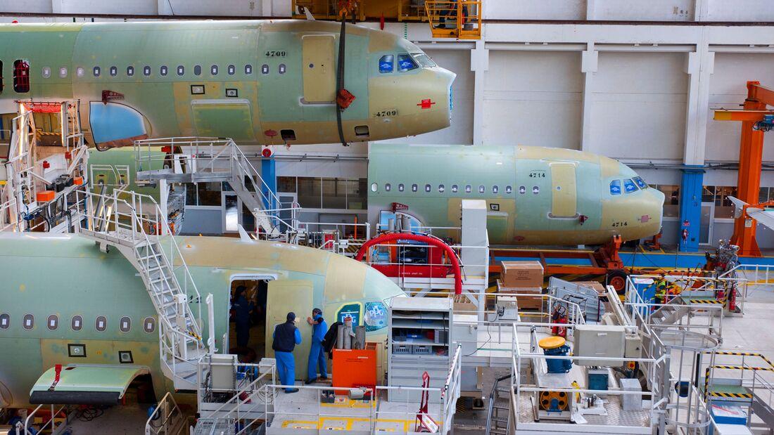 Endmontagelinie Airbus A320.