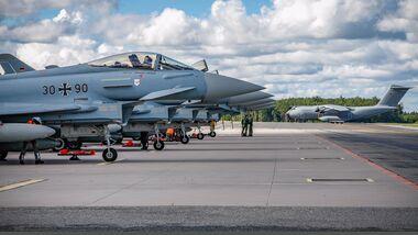 Eurofighter des Taktischen Luftwaffengeschwaders 72 verlegten Ende August nach Ämari, um die Luftraumüberwachung im Baltikum zu verstärken.