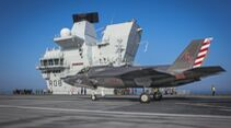 HMS QUEEN ELIZABETH WELCOMES UK AND US JETS FOR MAJOR EXERCISE