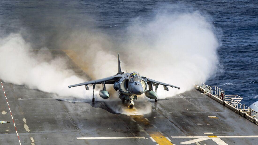Harriers take off from USS Iwo Jima