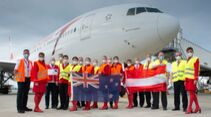 Im Rahmen der Toutisten-Rückholaktion flog eine 777-200ER der Austrian bis nach Neuseeland.