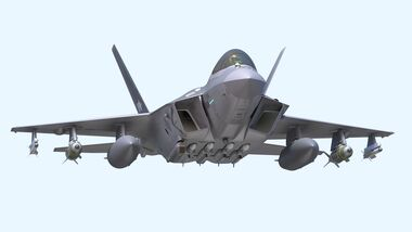 Korea Aerospace KF-X-Projekt mit MBDA Meteor Luft-Luft-Lenkwaffen unter dem Rumpf.