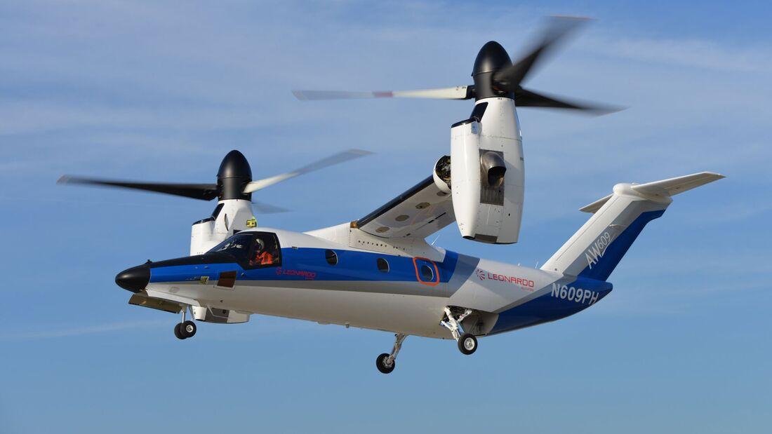Leonardo AW609 Prototyp Nummer 4 fliegt in Philadelphia.