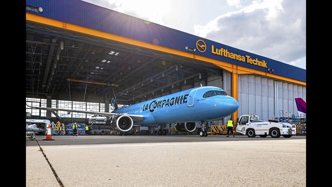 Lufthansa Technik, BUD, Budapest, WiFi, ViaSat, FlexMod, Airbus, A321 NEO, A321NX-252,  F-HNCO, La Compagnie,
