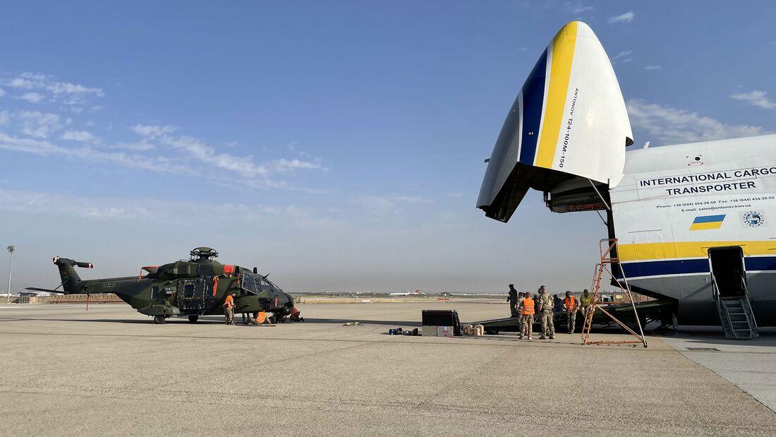 Mit der Antonow An-124 werden die sechs NH90 des Heeres aus Afghanistan zurückgebracht.