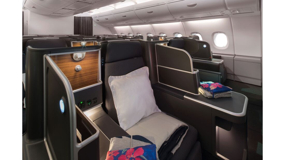 Qantas Airbus A380 mit neuer Kabinenausstattung: Business Class.