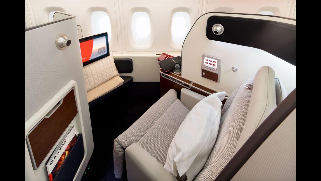 Qantas Airbus A380 mit neuer Kabinenausstattung: Erste Klasse.