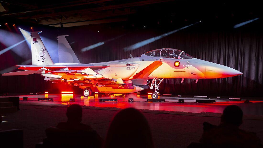 Rollout-Feier bei Boeing in St. Louis für die F-15QA von Katar im August 2021.
