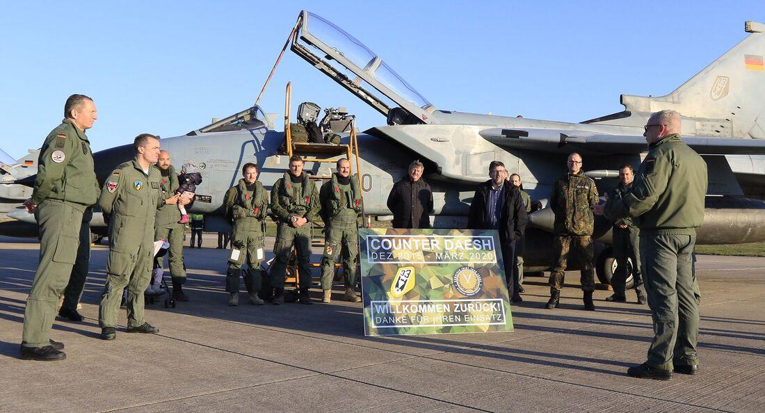 Rückkehr der letzten Tornados der Luftwaffe vom Einsatz in Jordanien am 1. April 2020 in Büchel.
