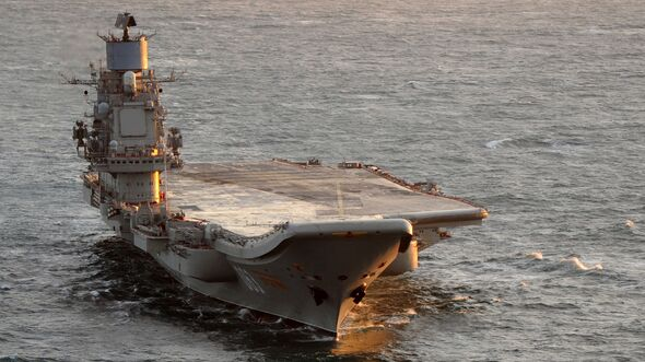 Russian Aircraft Carrier Admiral Kuznetsov is Escorted by HMS York Near Scotland
