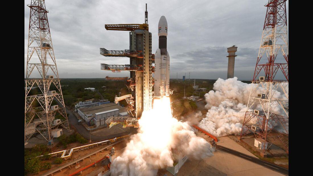 Start der zweiten indischen Mondmission Chandrayaan-2 am 22. Juli 2019.