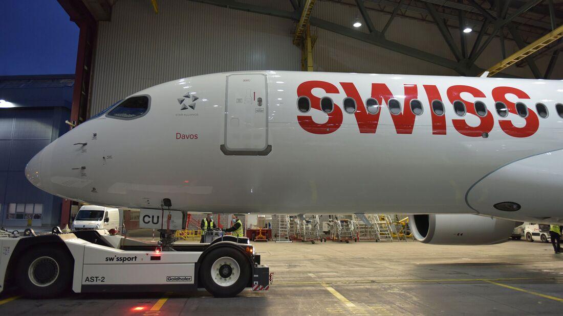 """Swiss hat am 24. Mai 2021 seine 30. und vorerst letzte A220 (ehemals C Series) erhalten. Sie wurde auf den namen """"Davos"""" getauft."""