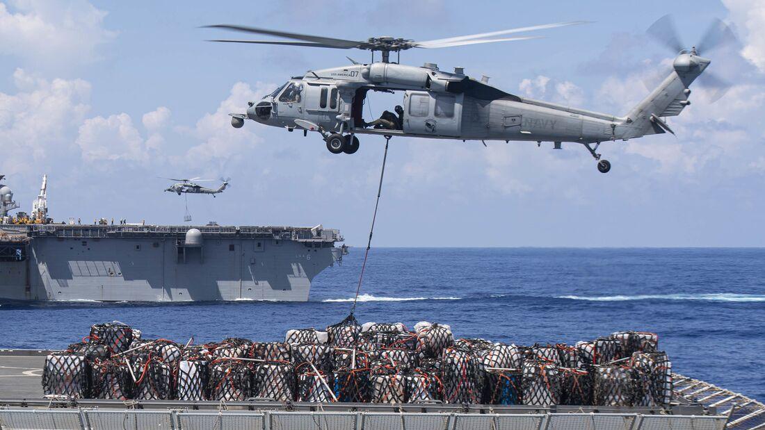 USS New Orleans Underway Replenishment with USNS Charles Drew