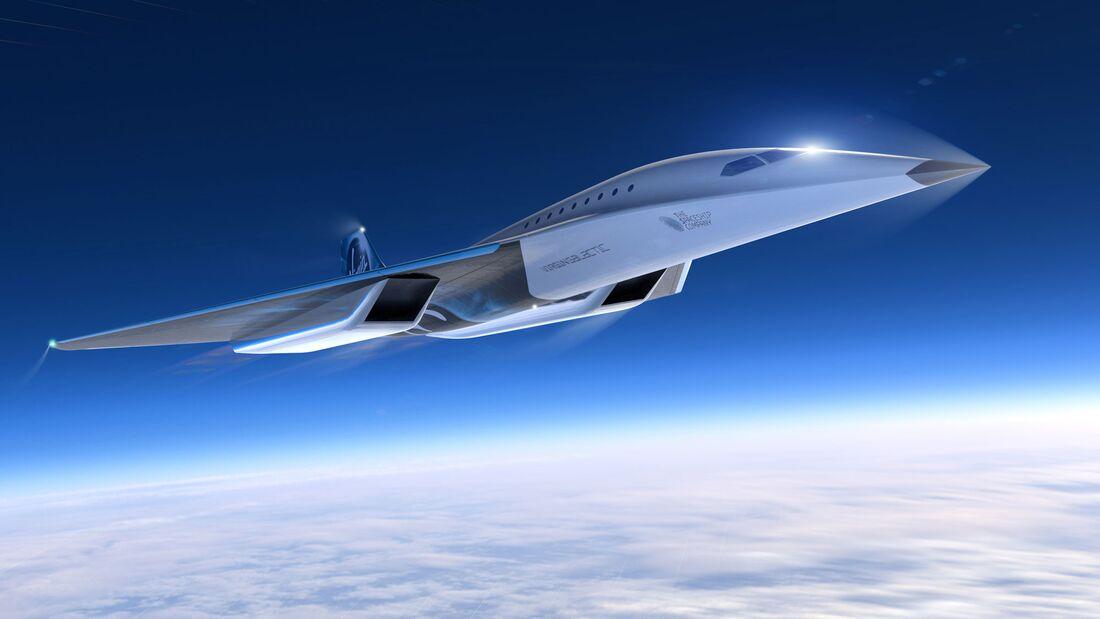 Virgin Galactic hat am 3. August 2020 den Entwurf eines bis zu Mach 3 schnellen 19sitzigen Langstreckenjets vorgestellt.