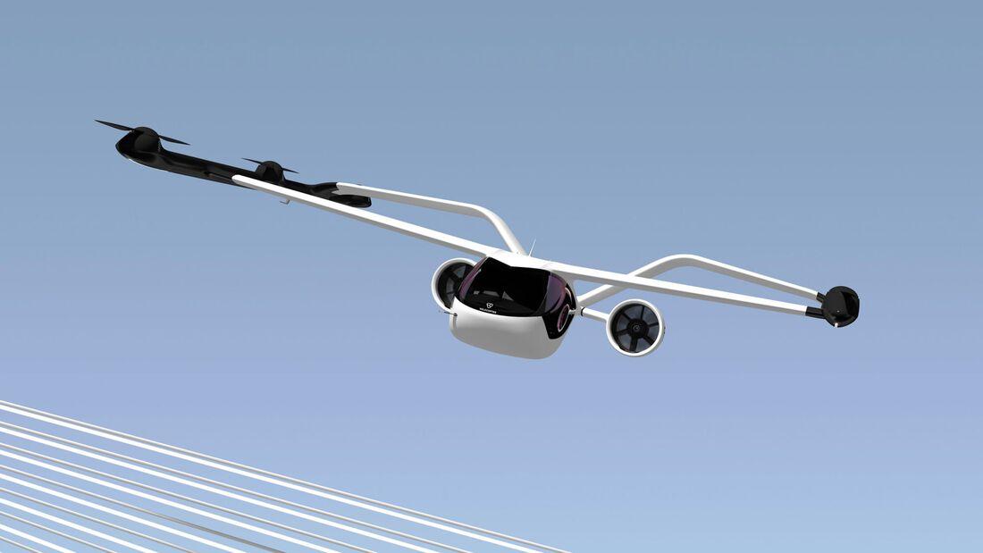 Volocopter stellt am 17. Mai 2021 sein Modell VoloConnect vor, das 100 Kilometer Reichweite bieten soll.