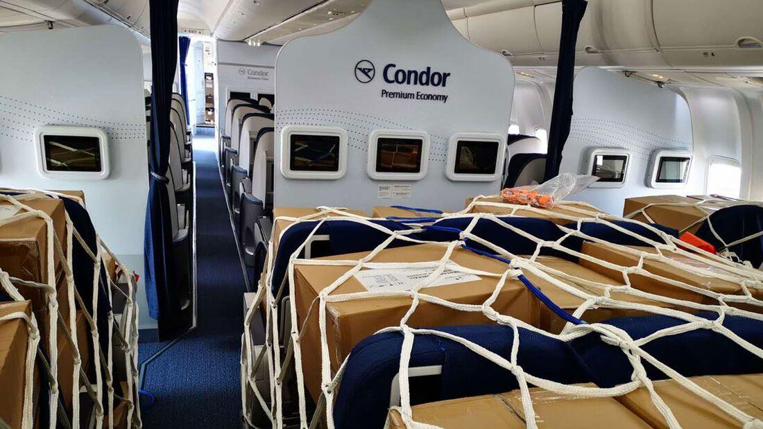Während des Stillstands im zivilen Flugbetrieb transportiert Condor Hilfsgüter aus China nach Deutschland.